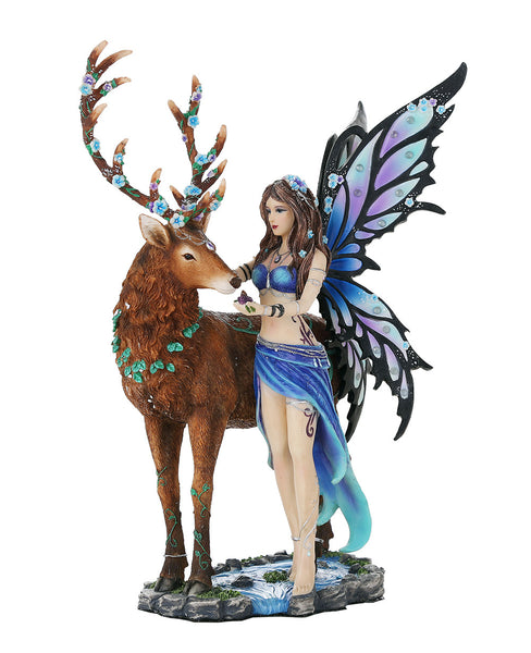Decorative Companion Fairy Diantha with Stag Collectible Decorative Statue 10H