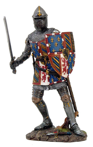 Medieval Knight in Full Armor Shield and Sword Collectible Figurine 7.5 Inch Tall