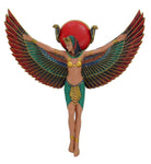 "Ancient Egyptian Goddess Isis With Open Wings Decorative Wall Plaque 13.5"" Tall Figurine"