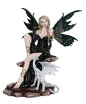 Large Fantasy Fairy with Black Dragon Figurine Fairyland Legends Decorative Statue 17.5 Inch H