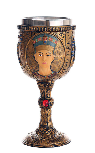 Egyptian Queen Nefertiti Royal Wife of Akhenaten Ceremonial Chalice Cup 7oz Wine Goblet