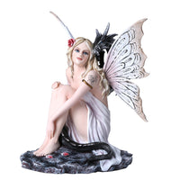 Fantasy Fairy with Dragon Figurine Fairyland Legends Decorative Statue 12 Inch H
