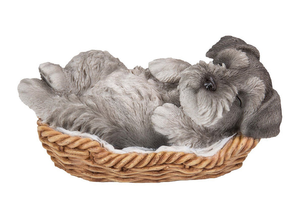 Mini Schnauzer Puppy in Wicker Basket Pet Pals Collectible Dog Figurine 6.5 Inches L