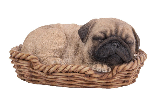 Pug Puppy in Wicker Basket Pet Pals Collectible Dog Figurine 6.5 Inches L …