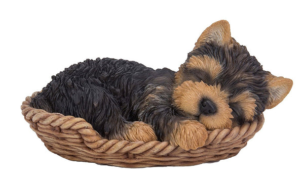 Yorkie Puppy in Wicker Basket Pet Pals Collectible Dog Figurine 6.5 Inches L …