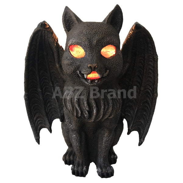 Vampire Winged Red Eye Standing Cat Gargoyle Candle Holder Statue Figurine Gothic Myth Fantasy Sculpture Decor