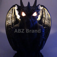 Guardian Winged Red Eye Standing Dragon Gargoyle Candle Holder Statue Figurine Gothic Myth Fantasy Sculpture Decor