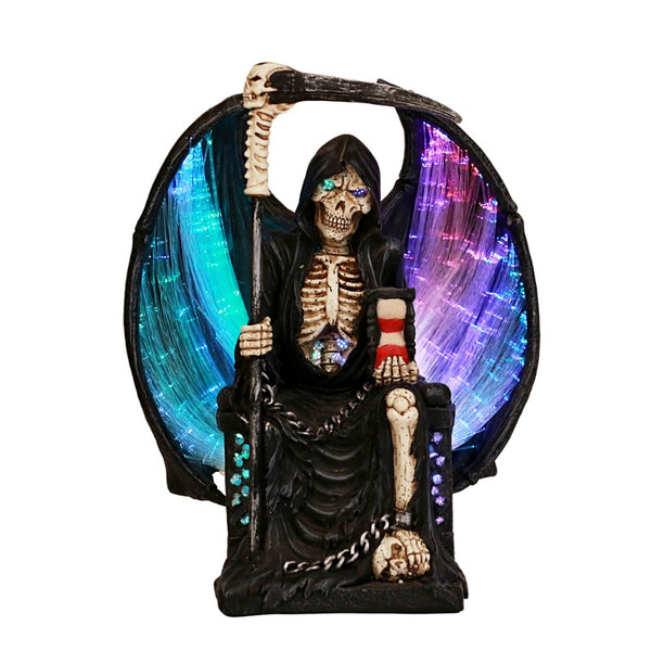 Grim Reaper Crystal Ball Fiber Optic Statue Figurine Gothic Myth Fantasy Sculpture Decor Battery Operated