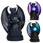 Guardian Winged Gargoyle Crystal Ball Fiber Optic Statue Figurine Gothic Myth Fantasy Sculpture Decor Battery Operated