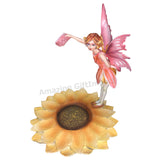 Dream Eden Red Tea Sugar Fairy Figurine with Drinking Mug and Sunflower Plate