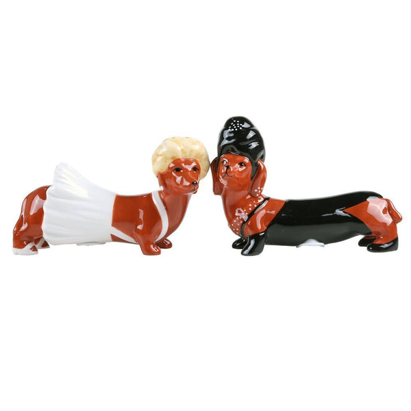 Superstars Dachshund Ceramic Magnetic Salt and Pepper Shaker Set