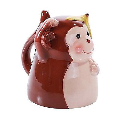 Topsy Turvy Coffee Mug Adorable Mug Upside Down Tea Home Office Decor (Monkey)
