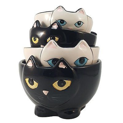 Adorable Ceramic Black and White Cats Nesting Measuring Cup Set of 4
