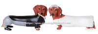 Adorable Wedding Couple Bride and Groom Doxie Dachshund Figurine Cake Topper