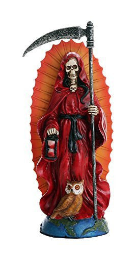 Santa Muerte Saint of Holy Death Standing Religious Statue 7.25 Inch (Red) Love Passion Relationship Santisima Muerte Sculpture