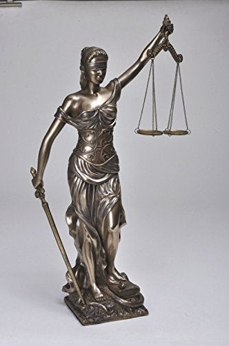 "18"" Blind Lady Scales of Justice Statue Lawyer Attorney Judge Figurine"