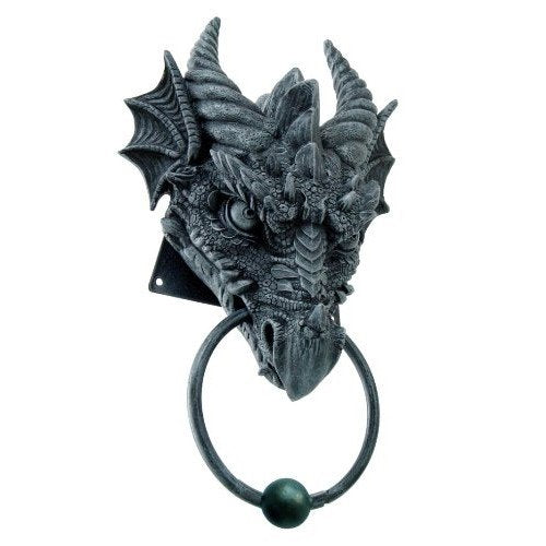 Horned Dragon Head Door Knocker Home Decor Figurine