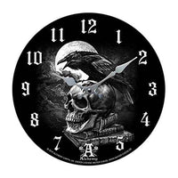 "Skull Wall Clock ""Poe's Raven Crown"" Skull Clock By Alchemy Gothic Round Plate 13.5""D"