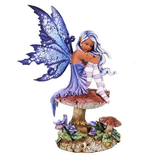Amy Brown Licensed Violet Mushroom Flower Fairy Sculpture Figurine
