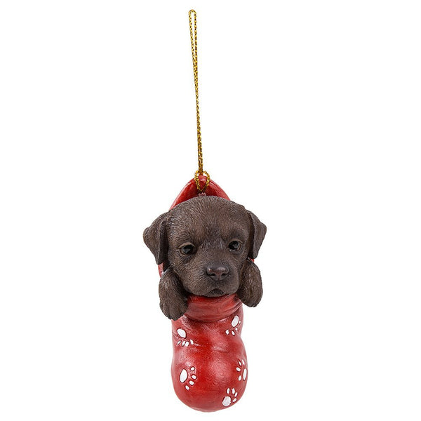 Chocolate Brown Labrador Retriever In Holiday Sock Decorative Holiday Festive Christmas Hanging Ornament