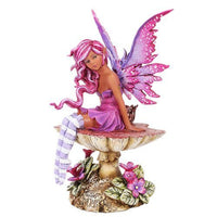 Amy Brown Licensed Magenta Mushroom Fairy Sculpture Home Decor Figurine