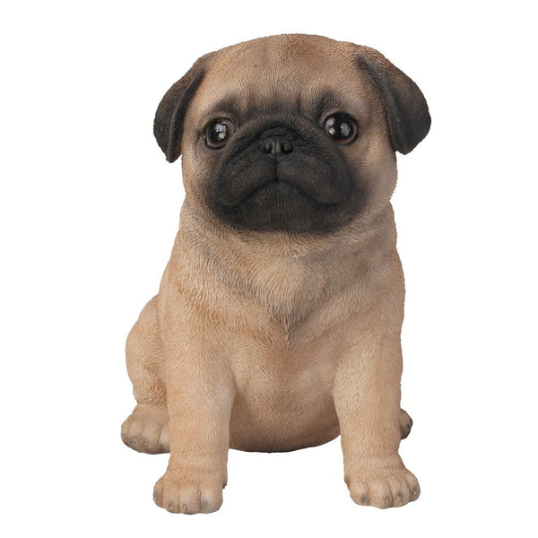 Adorable Seated Pug Puppy Collectible Figurine Amazing Dog Likeness Hand Painted Resin 6.5 inch Figurine Great for Dog Lovers Tabletop Decor