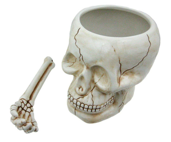 Skull Head Bowl Cup with Bone Spoon
