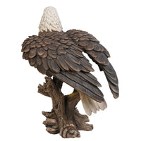 Realistic Looking Majestic Bald Eagle On Stump Statue Detailed Sculpture Amazing Likeness Life Size Scale Resin Sculpture Hand Painted Statue Indoor Outdoor Decor