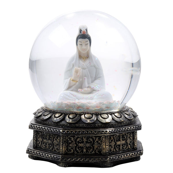 Eastern Deity Kuan Yin Goddess of Compassion and Mercy Meditation Altar Collectible Water Globe Home Decorative Gift Item
