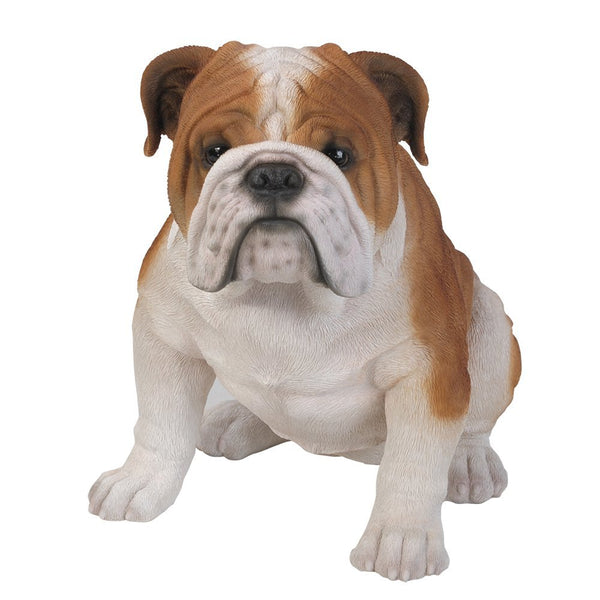 Realistic Life Size Bulldog Statue Detailed Glass Eyes Hand Painted Resin 18 inch Figurine Home Decor Amazing Likeness