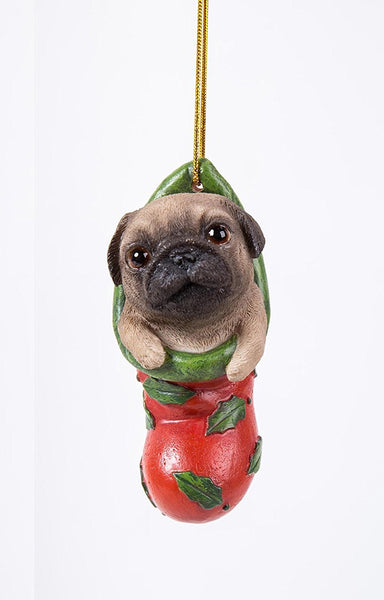 Pug Puppy Adorable Decorative Holiday Festive Christmas Hanging Ornament
