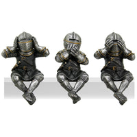 Medieval Knights See No Evil Speak No Evil Hear No Evil Whimsical Funny Knights Shelf Sitters Collectible Set