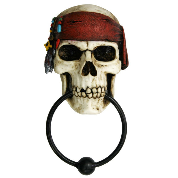 Nautical Buccaneer Pirates Skull Door Knocker Halloween Decor Figurine 7.85 Inch Tall