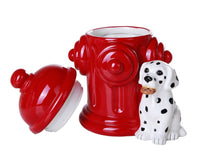 Firehouse Dalmatians and Fire Hydrant Ceramic Cookie Jar Kitchen Counter Decor 8.5 Inch Tall