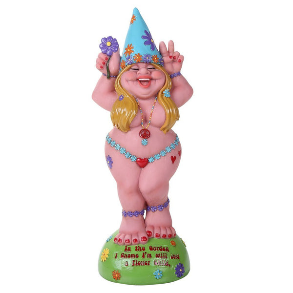 "Hippie Lady Gnome ""Flower Child"" Garden Gnome Statue 12H"