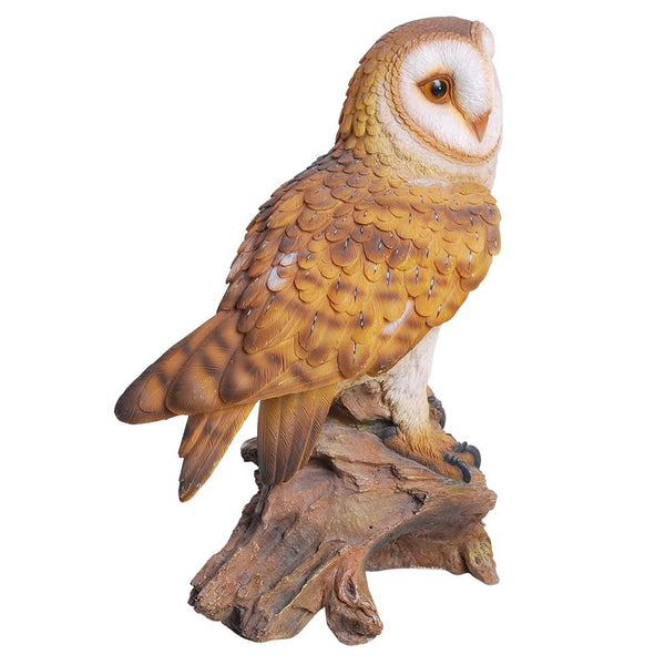 """14/"""" Tall Real Looking Barn Owl Perched On Stump Statue Gallery Quality Sculpture"""