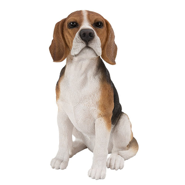 Realistic Life Size Beagle Statue Detail Sculpture Glass Eyes Hand Painted Resin 14 inch Figurine Home Decor Amazing Likeness
