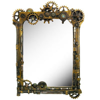 Steampunk Gearwork Time Travel Wall Sculptural Mirror 22 Inch Tall Decorative Steampunk Accent