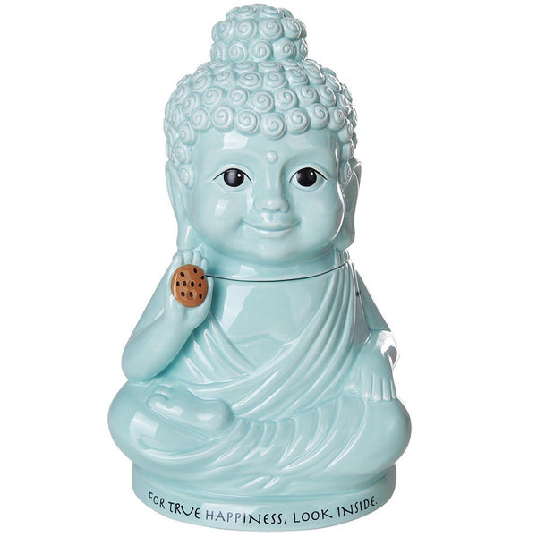 Meditation Buddha Happiness Inside Ceramic Cookie Jar Functional Kitchen Decor 8 Inch Tall
