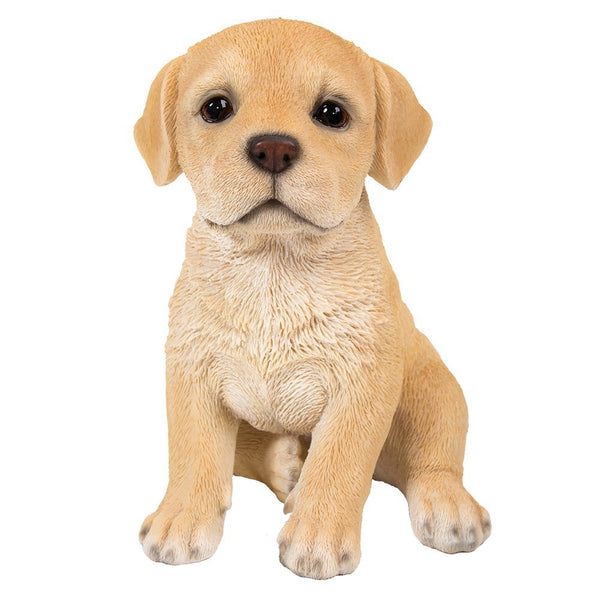 Adorable Seated Yellow Labrador Puppy Collectible Figurine Amazing Dog Likeness Hand Painted Resin 6.5 inch Figurine Great for Dog Lovers Tabletop Decor