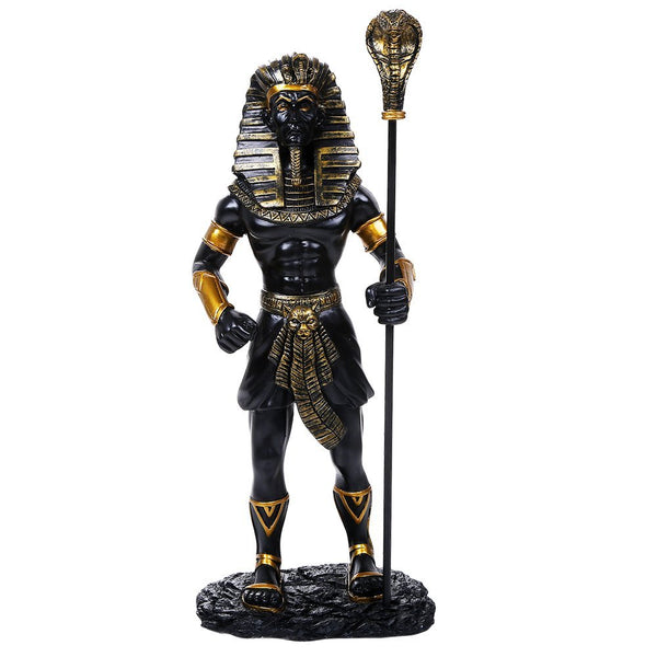 Ancient Egyptian Collectible King Tut With the King Cobra Scepter Collectible Black/Gold Figurine 12 Inch Tall