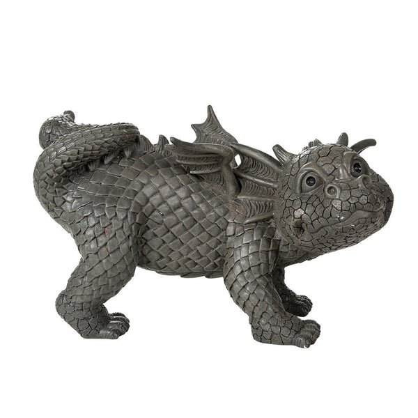 Garden Dragon Peeing Dragon Decorative Garden Accent Sculpture Stone Finish 10 Inch Tall