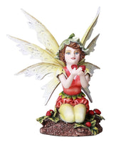 Adorable Strawberry Fairy Fantasy Fairy Collectible 4.75 Inches