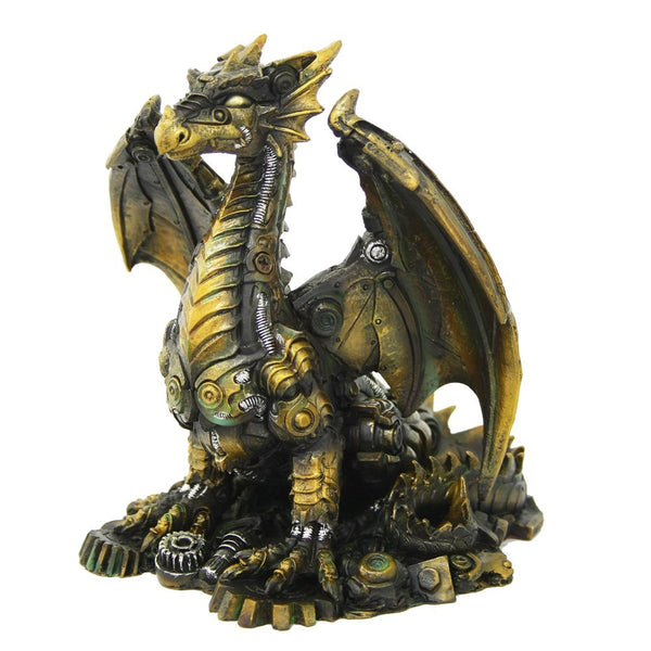 Steampunk Inspired Mechanical Dragon Tabletop Decorative Figurine Statue 6.25 Inch Tall