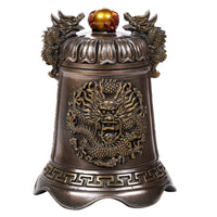 Oriental Fengshui Dragon Holding Orb Cast Bronze Bell Shaped Auspicious Sculptural Collectible 6 inch H