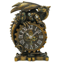 Steampunk Gearwork Mechanical Dragon Desktop Clock Home Office Workplace Decor