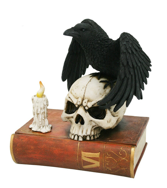 Gothic Raven Perched on Skull Poe Raven Spirit Guide Decorative Box Halloween Decor Secret Stash Box 7.5 Inch L Home Decor Gift