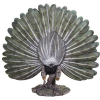 Majestic Peacock Spreading Its Proud Wings Colorful Plumage Statue Gallery Quality Detailed Sculpture Amazing Likeness Life Size Scale Resin Sculpture Hand Painted Statue Indoor Outdoor Decor