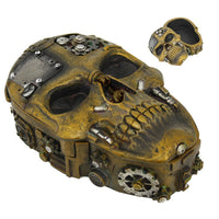 Steampunk Inspired Skull with Nuts and Bolts Lidded Trinket Box Tabletop Decor