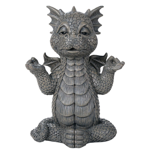 Garden Dragon Meditation Inner Peace Yoga Decorative Garden Accent Sculpture Stone Finish 10 Inch Tall
